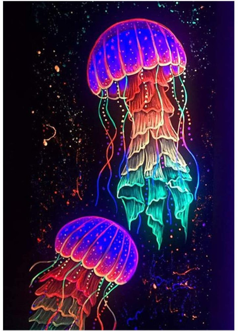 5D Diamond Painting Two Jelly Fish Kit