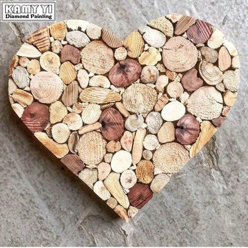 5D Diamond Painting Wood Heart Kit