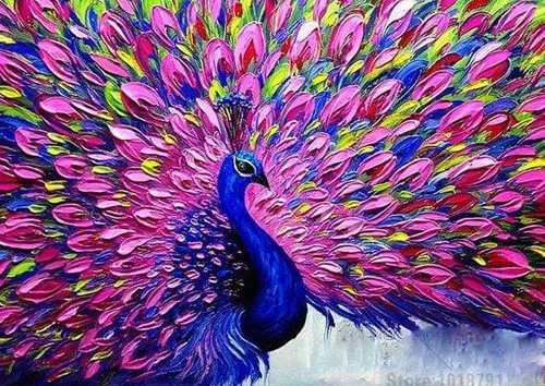 5D Diamond Painting Pink Feather Peacock Kit