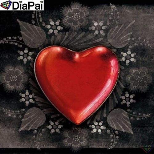 5D Diamond Painting Red Heart Leaves Kit