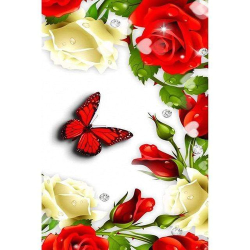 5D Diamond Painting Red Butterfly & Roses Kit