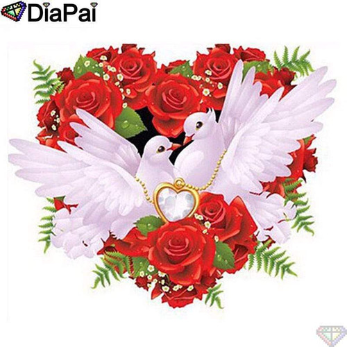 5D Diamond Painting Heart of Roses & Doves Kit