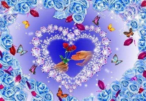 5D Diamond Painting Blue Rose Heart Kit