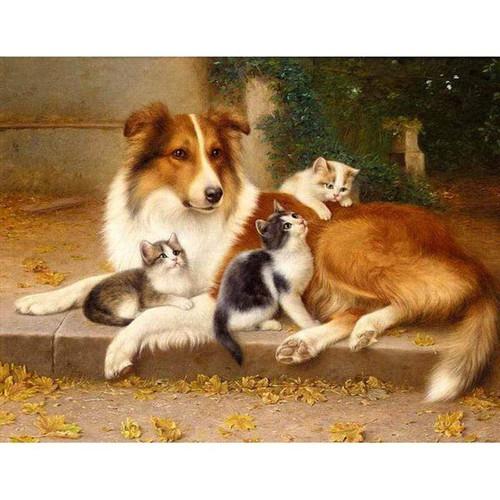 5D Diamond Painting Collie and Three Kittens Kit