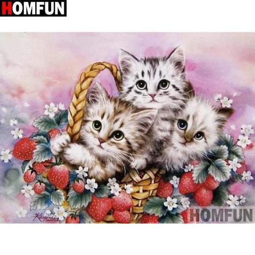 5D Diamond Painting Strawberry Basket Kittens Kit