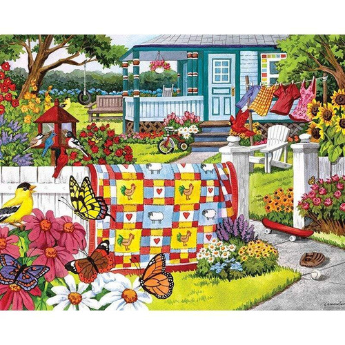5D Diamond Painting Quilt on a White Picket Fence Kit