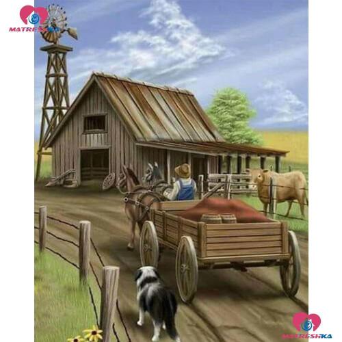 5D Diamond Painting Brown Wood Barn and Wagon Kit