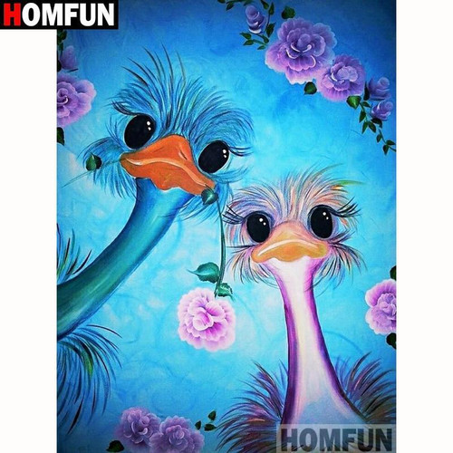 5D Diamond Painting Pink and Blue Ostrich Kit