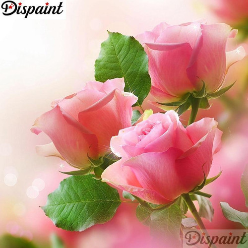 5D Diamond Painting Green Leaves and Three Pink Roses Kit