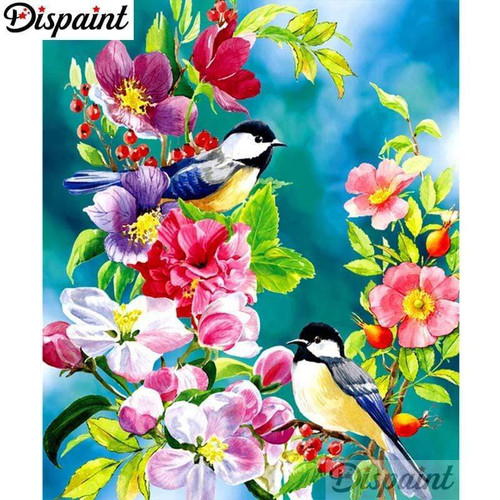 5D Diamond Painting Two Birds in the Flowers Kit