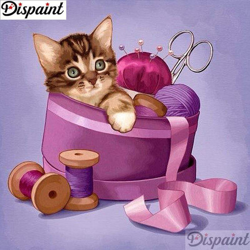 5D Diamond Painting Cat in the Sewing Box Kit