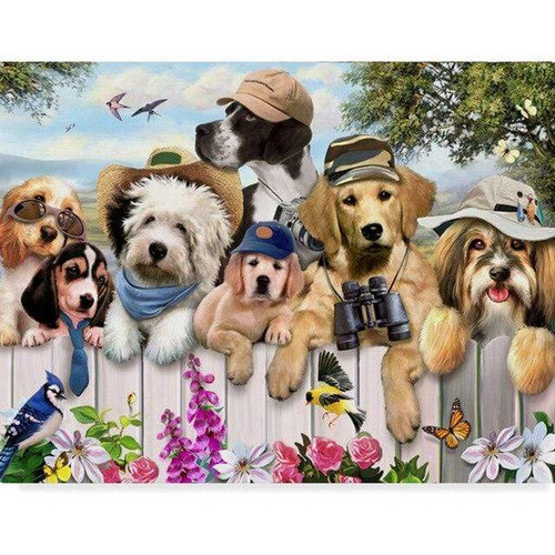 5D Diamond Painting Dogs on the Fence Kit