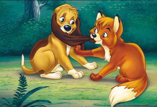 5D Diamond Painting Fox And Hound at Play Kit