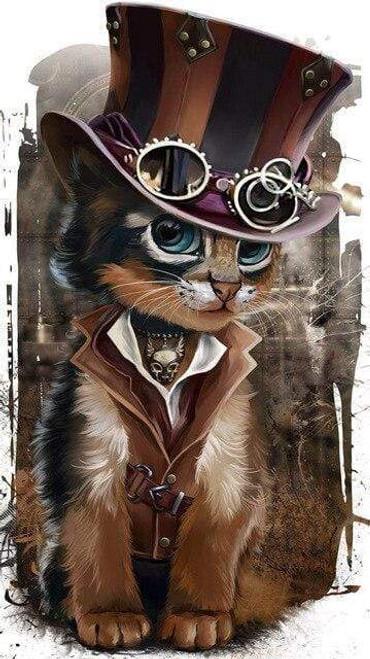 5D Diamond Painting Steam Punk Kitten Kit