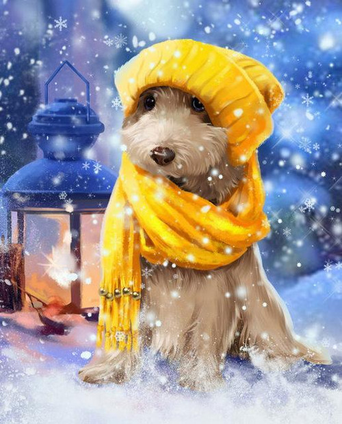 5D Diamond Painting Yellow Scarf Dog in the Snow Kit