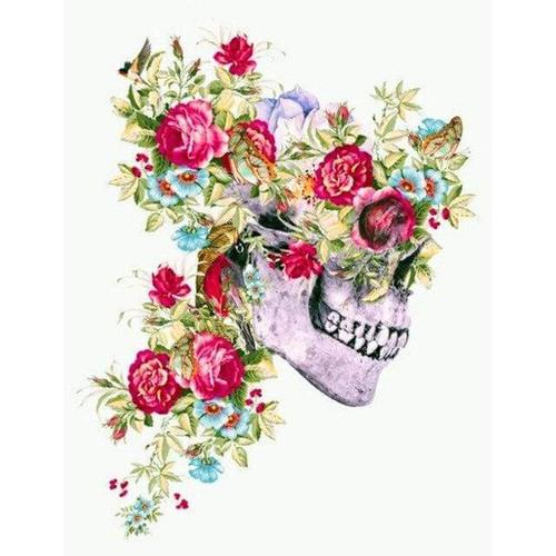 5D Diamond Painting Red Rose Skull Kit