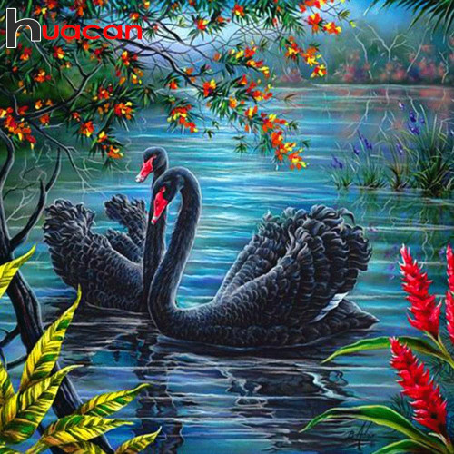 5D Diamond Painting Two Black Swans Kit