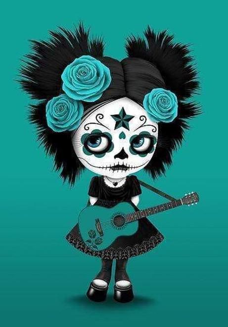 5D Diamond Painting Green Rose Guitar Skull Girl Kit