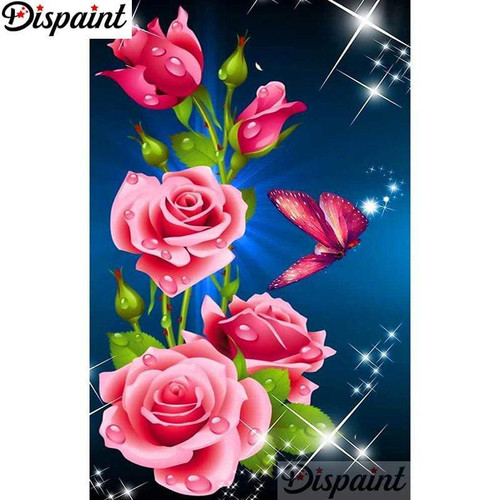 5D Diamond Painting Pink Butterfly Roses Kit