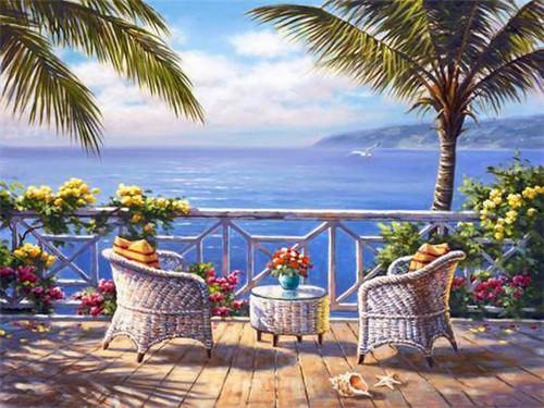 5D Diamond Painting Relaxing Ocean View Kit