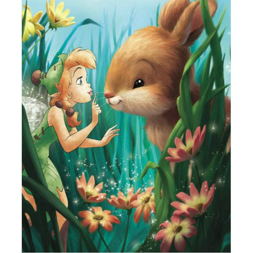 5D Diamond Painting Fairy and a Bunny in the Tall Flowers Kit