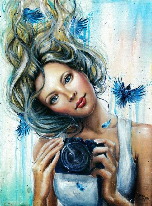 5D Diamond Painting Blue Camera Girl Kit
