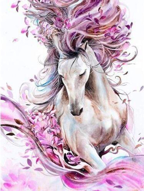 5D Diamond Painting Abstract Pink Maned Horse Kit