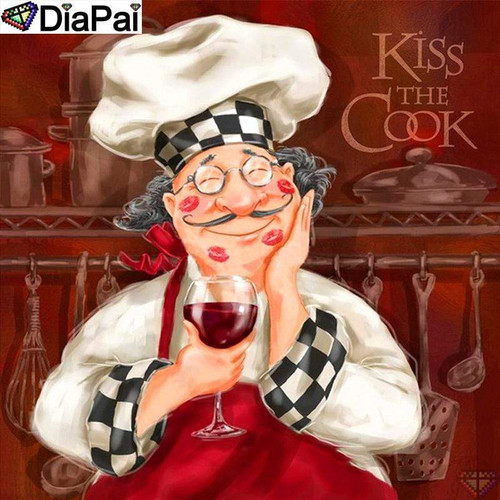 5D Diamond Painting Kiss the Cook Chef Kit