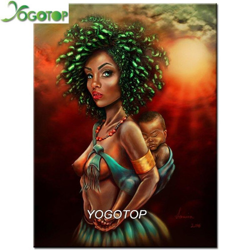 5D Diamond Painting Green Haired Tribal Woman Kit