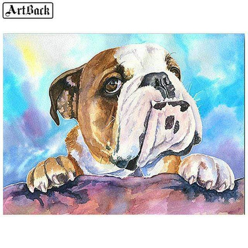 5D Diamond Painting Bulldog on the Fence Kit