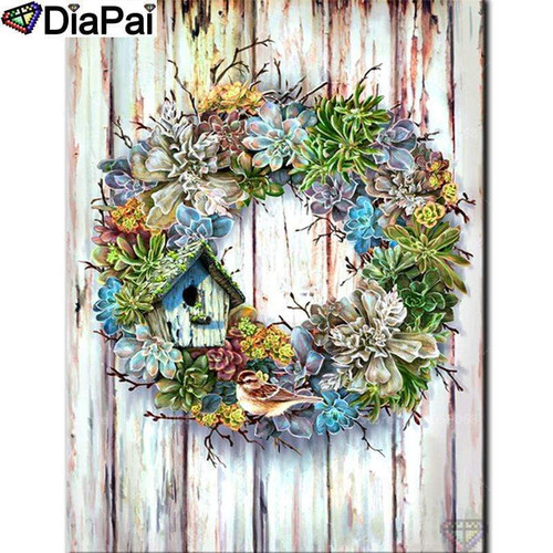 5D Diamond Painting Bird House Spring Wreath Kit