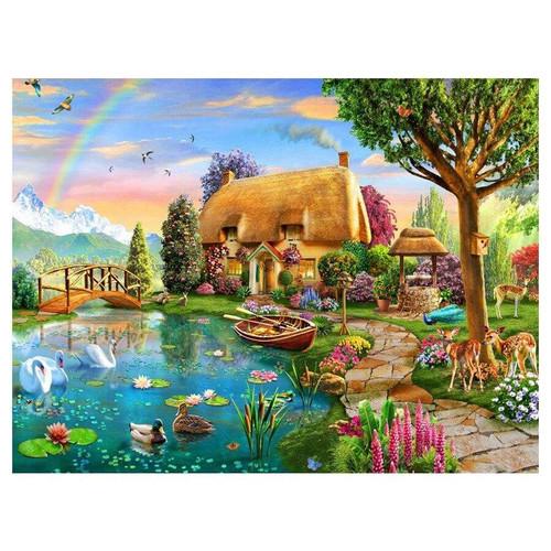 5D Diamond Painting Rainbow Animal Cottage Kit