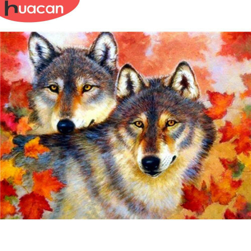 5D Diamond Painting Fall Leaf Wolves Kit