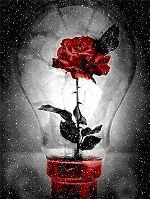 5D Diamond Painting Red Rose Light Bulb Kit