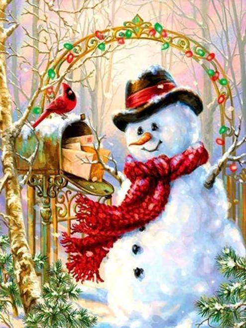 5D Diamond Painting Snowman & Cardinal at the Mailbox Kit