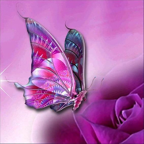 5D Diamond Painting Pink and Purple Butterfly Kit