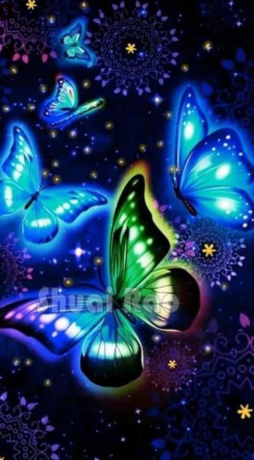 5D Diamond Painting Five Glowing Butterflies Kit