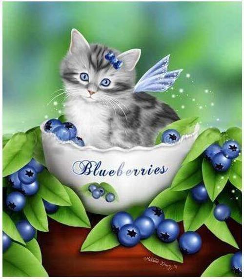 5D Diamond Painting Kitten in a Bowl of Blueberries Kit