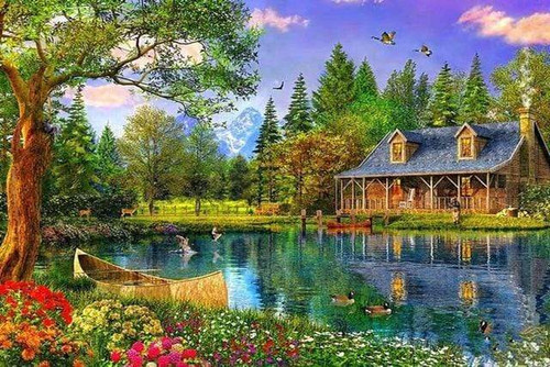 5D Diamond Painting Cabin by the Lake