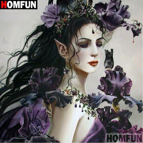 5D Diamond Painting Purple Flower Elf Kit