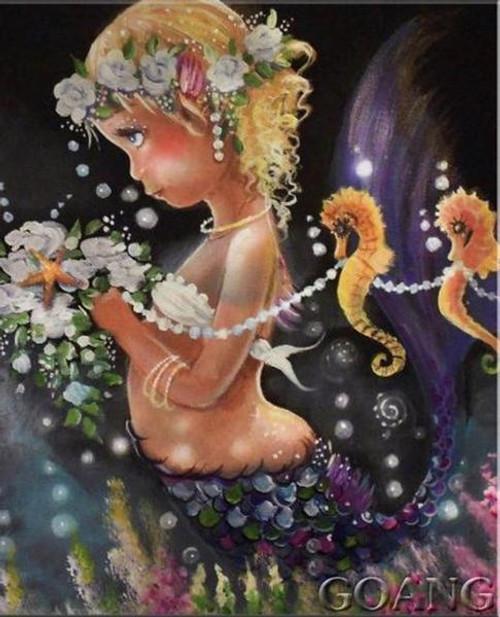 5D Diamond Painting Flower Adorned Mermaid Kit