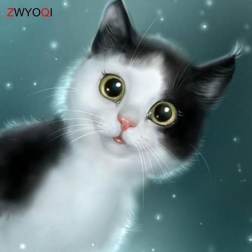 5D Diamond Painting Wide Eyed Cat Kit