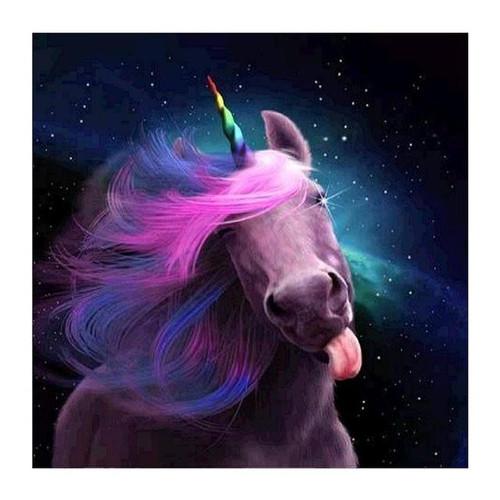 5D Diamond Painting Unicorn with a Rainbow Horn Kit