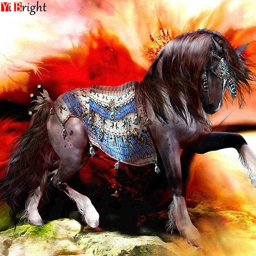 5D Diamond Painting Abstract Background Horse Kit