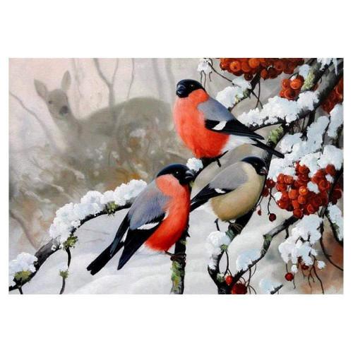 5D Diamond Painting Three Snow Birds Kit