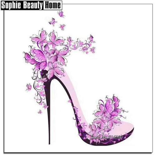 5D Diamond Painting Pink Flower Stilettos Kit