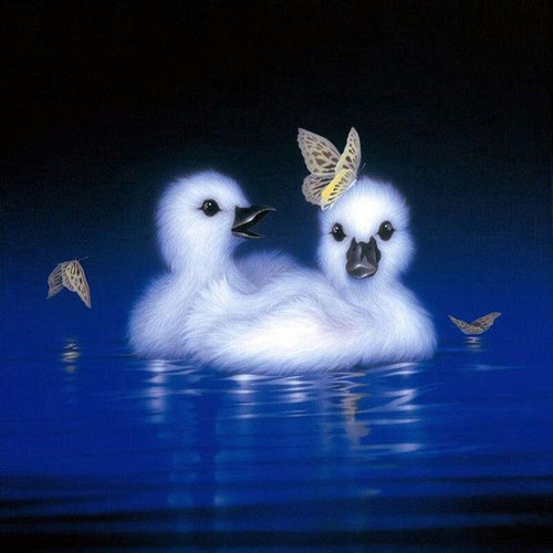 5D Diamond Painting Two Fluffy Cygnets Kit