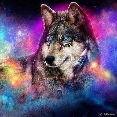 5D Diamond Painting Rainbow Smoke Wolf Kit
