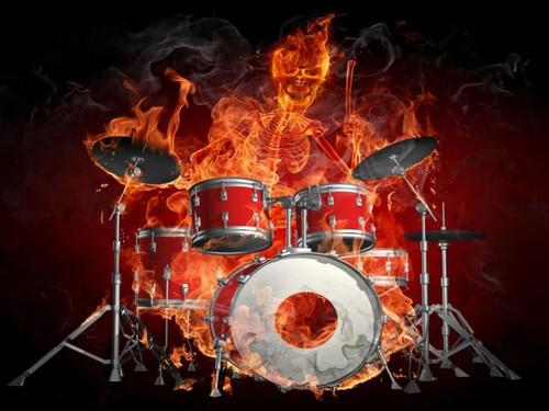 5D Diamond Painting Drummer on Fire Kit