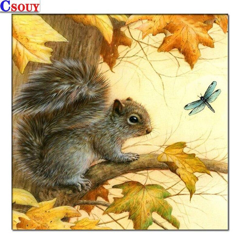 5D Diamond Painting Squirrel and Dragonfly Kit